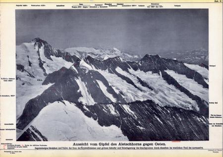 Aussicht vom Gipfel des Aletschhorns gegen Osten
