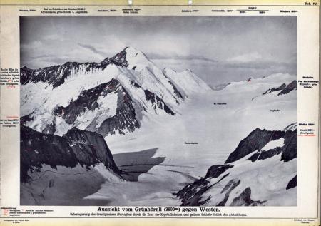 Aussicht vom Grünhörnli (3600 m.) gegen Westen.