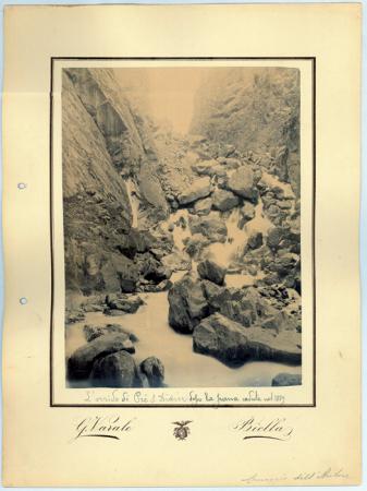 L'orrido di Pré S. Didier dopo la frana caduta nel 1889 /G.[iovanni] Varale