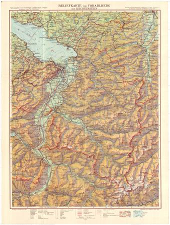 Reliefkarte von Vorarlberg und Liechtenstein