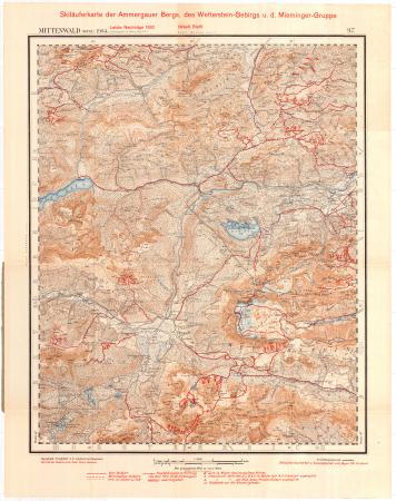 Skiläuferkarte der Ammergauer Berge, des Wetterstein-Gebirgs u. d. Mieminger-Gruppe : Westl. Bl.