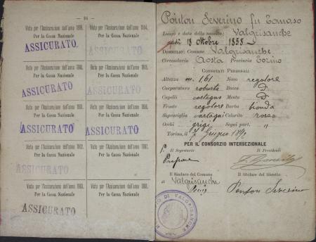 Libretto di guida Severino Ponton : 29 luglio 1895-29 agosto 1898