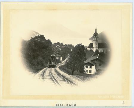 [Veduta della ferrovia a cremagliera che conduce al Rigi, durante il collaudo, verso il Lago di Lucerna]