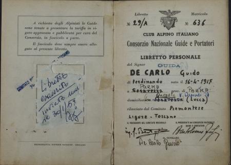 Libretto personale guida Guido De Carlo : 2 ottobre 1948-9 febbraio 1958