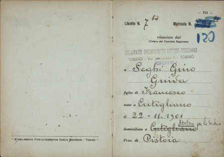 Libro personale guida Gino Seghi : Natale 1951-12 marzo 1961
