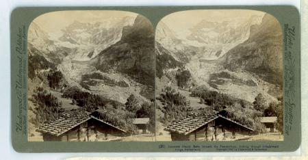 (31) Immense Glacier Basin beneath the Fiescherhorn, looking through Grindelwald Gorge, Switzerland