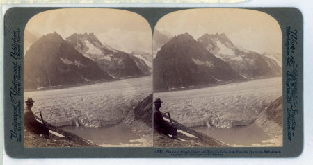 (51) The great Aletsch Glacier and Marjelen Lake, west from the Eggishorn, Switzerland