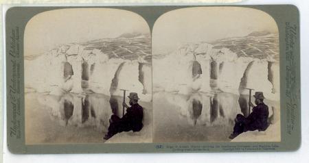 (52) Edge of Aletsch Glacier, showing the treacherous Crevasses - and Marjelen Lake (looking west), Switzerland