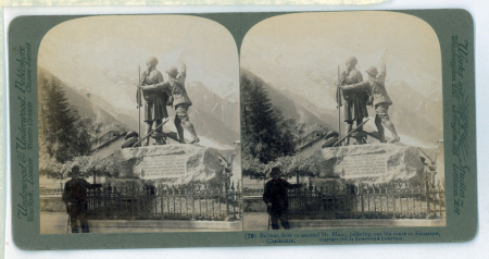 (78) Balmat, first to ascend Mont Blanc, pointing out his route to Saussure, Chamonix