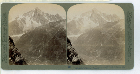 (81) Climbing the heights above Valley of Chamonix - Aiguille Verte in distance – Alps