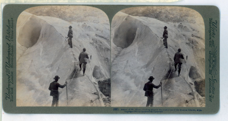 (82) Ascent of Mt. Blanc - Cutting steps in the crystal Ice of the Bossons Glacier, Alps