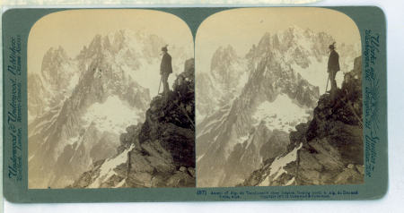 (97) Ascent of Aig. du Tacul - amid dizzy heights, looking north to Aig. du Dru and Verte, Alps