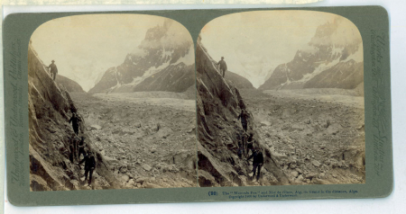 "(98) The ""Mauvais Pas"" and mer de Glace, Aig. Du Géant in the distance, Alps"