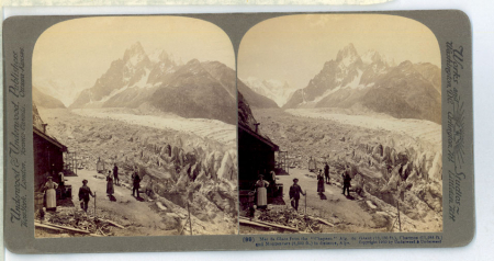"(99) Mer de Glace from the ""Chapeau"" Aig. Du Géant (13,150 ft.), Charmoz (11,295 ft.) and Montanvert (6,303 ft.) in distance, Alps"