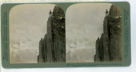 (79) 1814 - Frightful Alpine Precipices - looking from Aiguille Rouge (Brevent) to Mt. Blanc, Alps