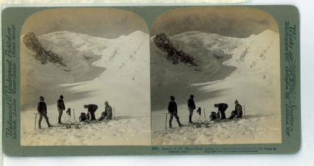 (90) 1825 - Ascent of Mt. Blanc - Party resting on Grand Plateau (13,000 feet), summit in distance, Alps