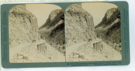 """(9) Golden Gate - entrance to picturesque ravine of """"golden rocks"""" - Yellowstone Park, U.S.A."""