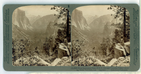 (1) 6017 - From Inspiration Point (E.N.E.) throught Yosemite Valley - showing Bridal Veil Falls, Cal.