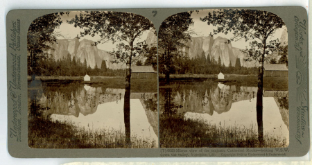 (7) 6023 - Mirror view of the majestic Cathedral Rocks - looking W.S.W. Down the valley, Yosemite, Cal.