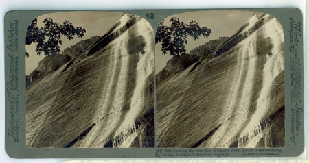 (12) 6028 - Look up the sheer face of Glacier Point, 3000 ft. to the overhanging Rocks, Yosemite Valley, Cal.