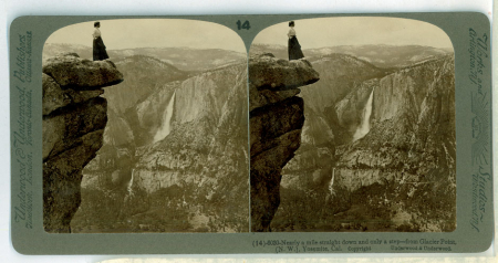 (14) 6030 - Nearly a mile straight down and only a step - from Glacier Point, (N.W.), Yosemite, Cal.