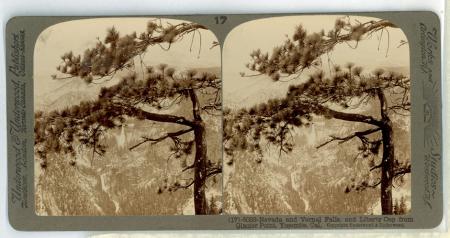 (17) 6033 - Nevada and Vernal Falls and Liberty Cap from Glacier Point, Yosemite, Cal.