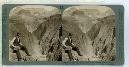 (12) 6083 - Down the Granite Gorge of the Colorado (1200 ft deep) from Pyrites Point, Grand Cañon of Arizona