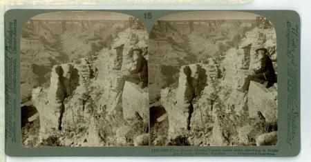 (15) 6086 - Thos, Moran, America's great scenic artist, sketching at Bright Angel Cove, Arizona