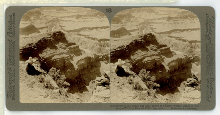 (18) 6089 - On the brink, one mile above the River - Grand Cañon of Arizona - W. From Rowe's Point