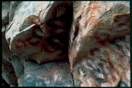 [Pitture rupestri dei Tehuelche nel Cañadon de las pinturas]