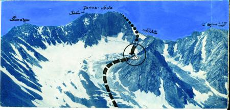 [Alam Kuh. Itinerario della spedizione. Veduta della tenda e del tragico incidente]