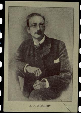 [Riproduzioni di un ritratto di Albert Frederick Mummery, riprese del Grepon e Charmoz]