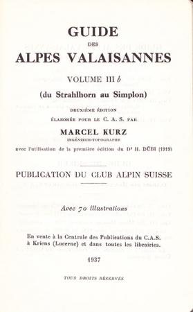 Volume 3b: Du Strahlhorn au Simplon