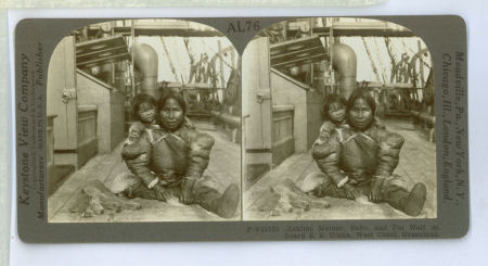 AL76 (V13333) - Eskimo Mother, Babe, and Pet Wolf on Board S. S. Diana, West Coast, Greenland