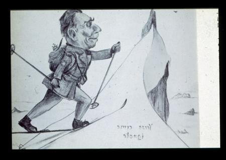 """[Autore non identificato, ritratto caricaturale di Ugo di Vallepiana """"Verso cime ignote""""]"""