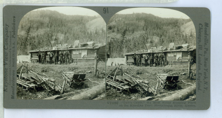 """AL91 (V21092) - """"Dan's Cabin"""" the Most Noted Stopping Place on the Klondike Trail, Hootalinqua River, Alaska"""