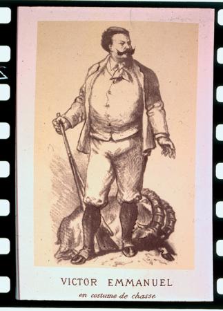 [Illustrazioni con ritratto di Vittorio Emanuele di Savoia, accampamento a Orvieille, scene di caccia]
