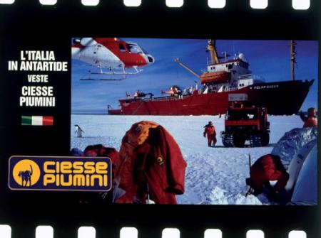 [Pubblicità fotografica Ciesse piumini: spedizione Messner in Antartide]