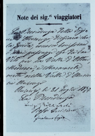 [Riproduzioni di documenti manoscritti: Lettera ai Sig. Viaggiatori (1877) e attestato CAI, succursale Auronzo di Cadore (1870)]