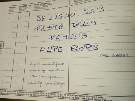 Libro del rifugio Anna Crespi Calderini