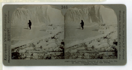 346 13327 - Roald Amundsen, Discoverer of the South Pole, Dec. 16, 1911, Inspecting Ice Field near Glacier, Antartic Ocean