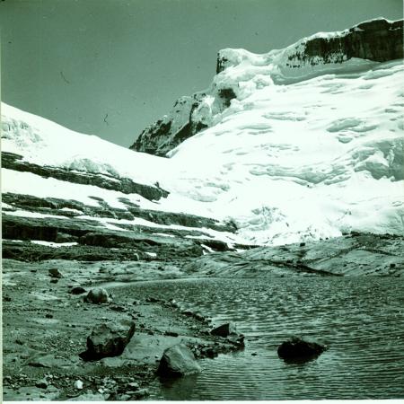 Nevado Concavo. Veduta della parete nord dalla parte finale del ghiacciaio nella valle del Concavito