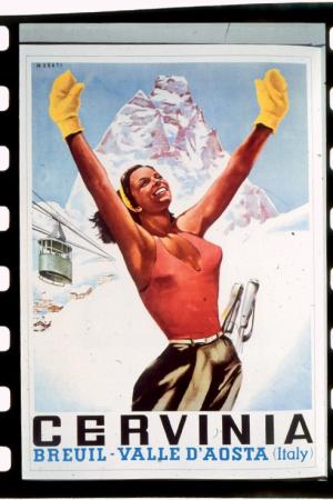 [Manifesti turistici, fotografie storiche di sciatori, vedute di Sestriere]