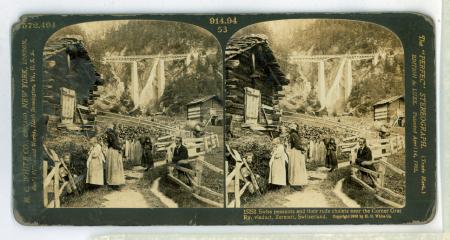 572.494 - 914.94-53 - 15252 Swiss peasants and their rude chalets near the Gorner Grat Ry. Viaduct, Zermatt, Switzerland