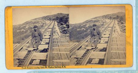 Track Repairer coming down Mt. Wash,n Railway, N. H.