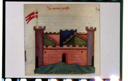 [Affreschi del Castello del Buonconsiglio, Trento; mappe antiche di centri abitati tra Medioevo e Età Moderna: Bard, Demonte, Saorge]