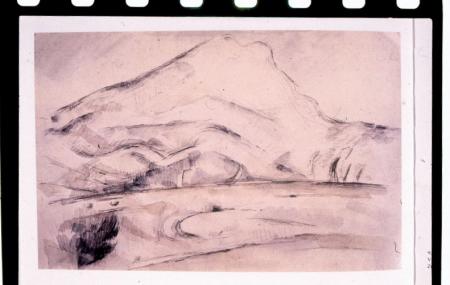 [Paul Cézanne, La montagna Sainte-Victoire e autoritratto con cappello; una foto del pittore]