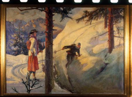 [Riproduzioni di dipinti e illustrazioni storiche di sciatori]