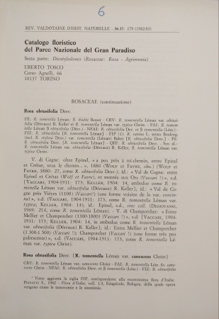 Catalogo floristico del Parco nazionale del Gran Paradiso.  Quinta parte: *Dicotyledones (Rosaceae: Rosa-Agrimonia)