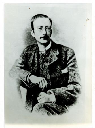 [Autore non identificato, ritratto di Albert Frederick Mummery e lo stesso sulla fessura omonima, Aiguille du Grépon]